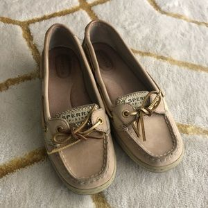 Tan & Gold Glitter Sperry Boat Shoes